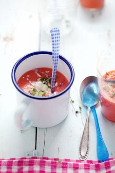 Cannelle et Vanille: Sharing a watermelon, tomato and almond gazpacho from Small Plates and Sweet Treats