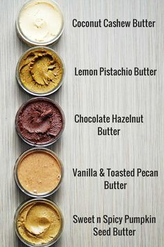 5 nut and seed butters to boost your health! Nuts and seeds are anti-inflammatory. Try subbing these for your usual peanut butter.