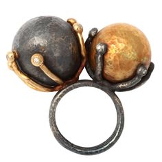 Ring | Rebecca Koven. 'Moon and Sun'. 18kt yellow gold, sterling silver and diamonds.