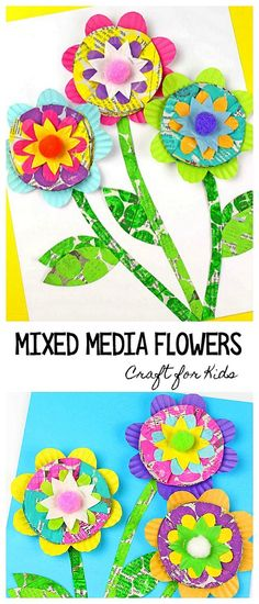 Mixed Media Flower Craft for Kids: Children use newspaper, cupcake liners, and bubble wrap painted prints to make these colorful, 3-D flowers. Perfect for a spring art project or to decorate a Mother's Day card. ~ BuggyandBuddy.com #springcrafts #flowercraft #mothersday #mothersdaycraft #artforkids #artprojectforkids