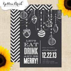 White drawing on bold colour Chalkboard Holiday / Christmas Party by YellowBrickGraphics, $15.00