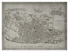 Liverpool Map: Vintage Map of Liverpool, England - Circa 19th C.