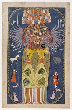 Vishvarupa: Krishna in seiner kosmischen Form Indien, Kaschmir, 1875–1900 Pigmente auf Papier, Museum Rietberg Zürich