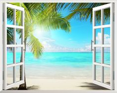 Sunshine Beach Window 3D Wall Decal (Removable Home Decor Vinyl Art Sticker, Palm Trees)