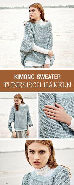 DIY-Anleitung: Diesen Herbst häkelst Du tunesisch, stelle ein Kimono-Sweater selbst her, Wintermode / DIY tutorial: this fall you'll do tunesian crocheting, winter fashion via DaWanda.com