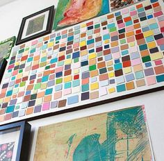 Cut asymmetrical paint chips and tape them to DIY modern art.  Learn more about how it was done at Aunt Peaches