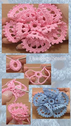 In this crochet flower tutorial you will see how to crochet a large folded petal flower. The flower has five beautiful petals where each petal made of 10 one of a kind complex stitches. Crochet Art, Thread Crochet, Crochet Motif, Crochet Crafts, Crochet Projects, Crochet Leaves, Crochet Flower Tutorial, Crochet Instructions, Crochet Square Patterns