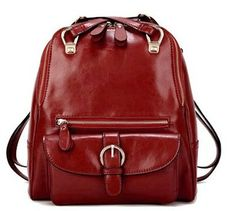 wine red candy backpack soft genuine leather backpack by starbag, $56.93