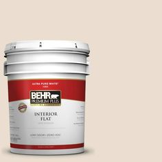BEHR Premium Plus 5-gal. #W-F-120 Natural Linen Zero VOC Flat Interior Paint