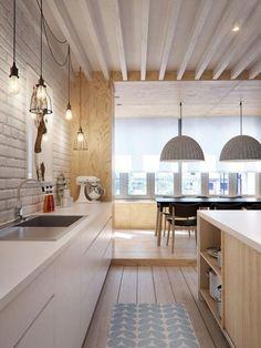 cuisine scandinave, ilot de cuisine en bois, salle de déjeuner