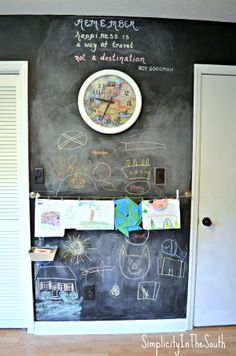 Chalkboard wall and art display boys room
