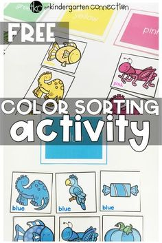 This free printable color sorting activity is perfect for preschool and kindergarten centers! Learn colors and color words, too! Learning Colors for Toddlers Color Sorting For Toddlers, Color Activities For Toddlers, Colors For Toddlers, Preschool Colors, Teaching Colors, Toddler Learning Activities, Free Preschool, Preschool Printables, Preschool Activities