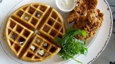 The Tasting Kitchen chicken and waffles | Best Brunches in LA