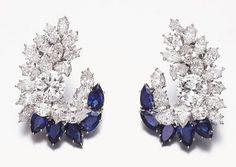 Harry Winston diamond sapphire earrings | Harry Winston | Jewelry