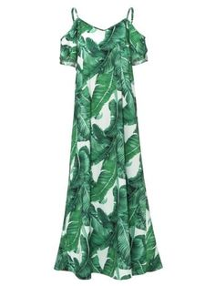 15a901c8a Spaghetti Strap Plant Print Backless Women s Maxi Dress