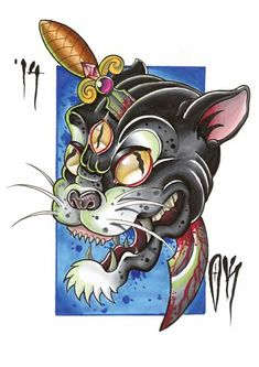 Slaying the 3 eyed panther #tattoo #newschool #olliekeabledesigns…