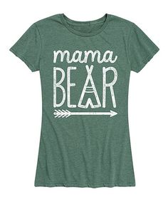 Instant Message Womens Heather Juniper Mama Bear Relaxed-Fit Tee - Women | Zulily