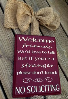 Welcome/No Soliciting Wooden Sign by aDOORableDecoWreaths on Etsy