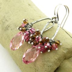 Pink Crystal Earrings Smoked Topaz Brown Jewelry Swarovski Crystal Sterling Silver Oxidized Wire Wrapped Fashion Jewelry Beth. $64.00, via Etsy.