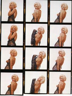 Marilyn Monroe contact sheets from The Last Sitting with photographer Bert Stern, 1962