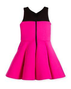 Z1RBB Zoe Sleeveless Two-Tone Pleated Dress, Pink/Black, Size 7-16