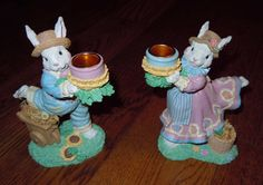 PETER COTTONTAIL~CERAMIC EASTER RABBIT CANDLEHOLDERS BUNNY GIRL AND BOY - BRAND NEW SET OF 2