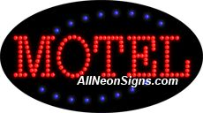 """Animated Motel LED Sign-ANSAR24251  15""""x27""""x1""""  Animated  8lbs  Indoor use only  Low energy cost: Uses ONLY 10 Watts of power  Expected to last at least 100,000 hrs  Cool and safe to touch, low voltage operation  High visibility, even in daylight  Easy to clean, Easy to install, Slim & Light Weight  Maintenance FREE  1 YEAR Warranty."""
