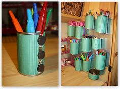 Re-purpose cans on a magnetic board!