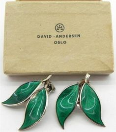 Norwegian Solid Silver & Enamel Earrings, by David Andersen