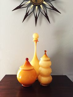 Empoli cookie jars and a stunning Seguso ca d'oro decanter in warm golden butterscotch amber by deedee9:14