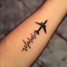 Live. Breathe. Fly. by Eduardo Ribeiro. #inked #Inkedmag #tattoo #airplane #heartbeat #life #idea #arm