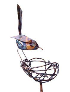 Copper bird w/ nest garden sculpture!! Awesome!