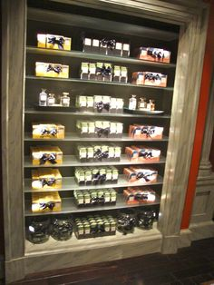 Product display, recessed shelving