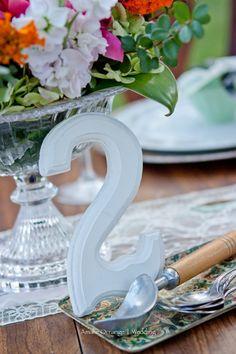 wedding table- I like the idea of block numbers