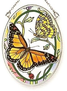 Amia 7655 Small Oval Suncatcher with Butterfly Design, 3-1/4-Inch W by 4-1/4-Inch L, Hand-painted Glass by Amia. $11.78. 3-1/4-inch w by 4-1/4-inch l. Hand-painted glass. Includes chain. Enjoy this Amia small oval suncatcher with beautiful butterfly design. Makes a perfect gift for someone special.