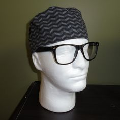 Men's Black and White Surgical Scrub Hat by FourEyedCreations on Etsy