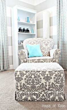 Grey and torquiose. would love that chair in my bedroom.  time to replace old blue!