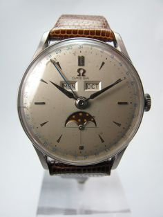 Omega 1950 ' S Vintage Steel Triple Calendar Month Day Date Moonphase