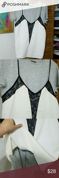 Express top Express double layer top / grey t shirt under white and black cami / camisole is attached at the shoulder / NWT NBW Express Tops Tees - Short Sleeve