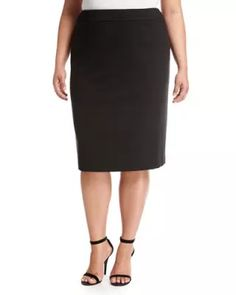 f06b277ed2c TVHW3 Tahari ASL Plus Quilted-Waist Ponté Pencil Skirt