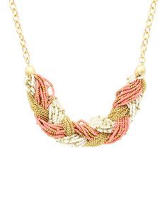 Love this Gold & Peach Braided Bead Statement Necklace by Olivia Welles Jewelry on #zulily! #zulilyfinds