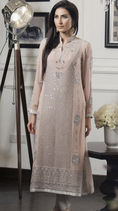 Buy T-Pink Embroidered Chiffon Salwar Kameez by Threads and Motifs
