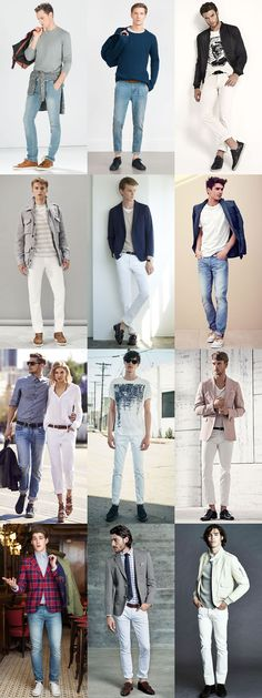 Men's Light Wash and White Jeans Outfit Inspiration Lookbook