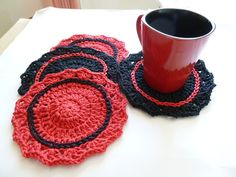 For my country home - Strawberry-Red & Black Crocheted Coasters by ACozyCrochet  #Etsy #EtsyRMP