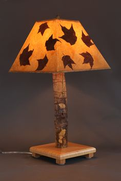 Hand-crafted rustic lamp with figured maple base, ash stem and maple leaf shade – Rustic Wood Lamps