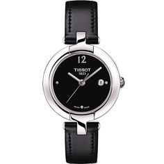 Pinky by Tissot Women's Quartz Black Dial Watch with Black Leather Strap