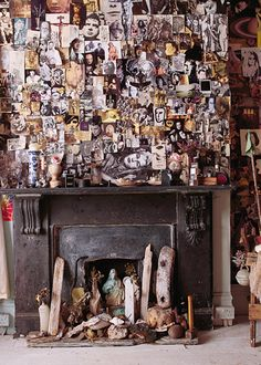 Since 1990, the artist, Peter Armstrong, has lovingly covered the walls of his Brixton terrace house with his favourite pages from magazines.Source: World of Interiors magazine.