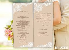 Printable Wedding ceremony 2 sided program template Vintage lace pattern by Oxee, DIY, Editable in Word on Etsy, $5.46 CAD