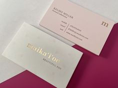 Custom business card design by Primoprint. The card is printed on our 14PT uncoated paper with rose gold stamped foil.