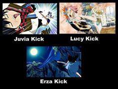 Fairy Tail, Juvia kick, Lucy kick, Erza kick, XD